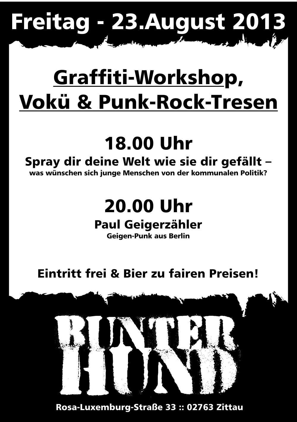 23. 8. 20:00 geigerzaehler-konzert im bunten hund in Zittau