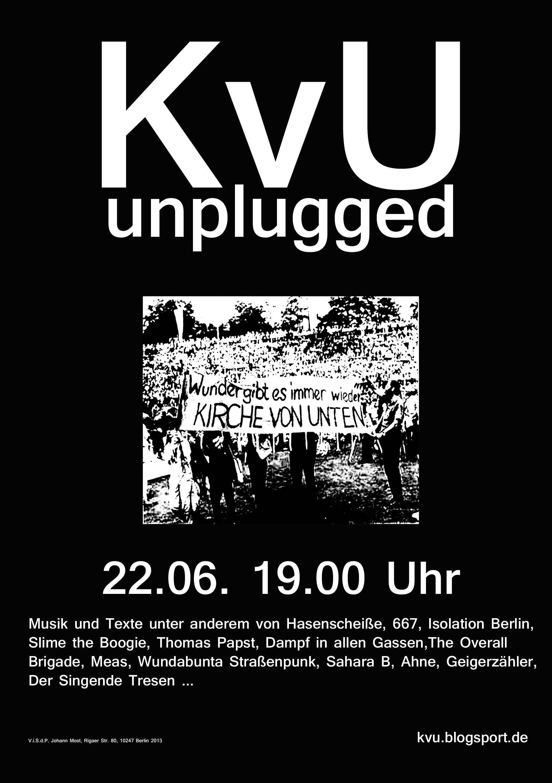 Plakat für KvU unplugged am 22. 6. 19 Uhr@KvU